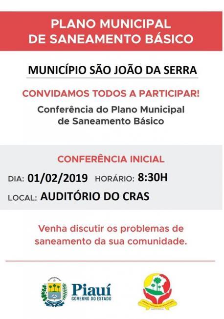 Prefeitura convida população para discutir sobre saneamento básico