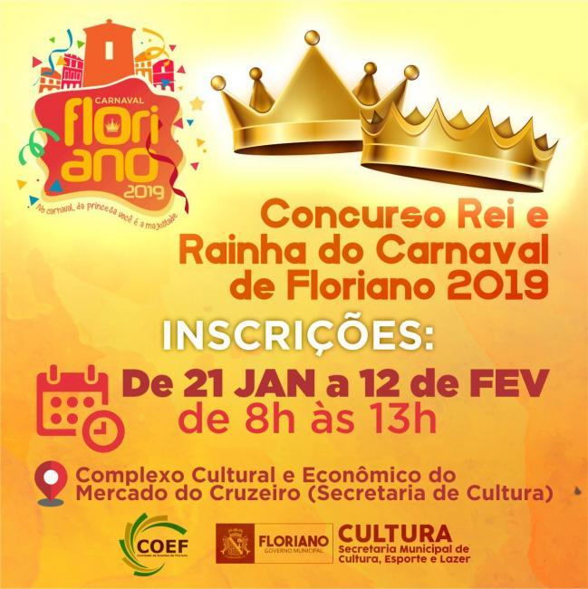 Inscrições para o concurso de Rei e Rainha do Carnaval 2019 estão abertas