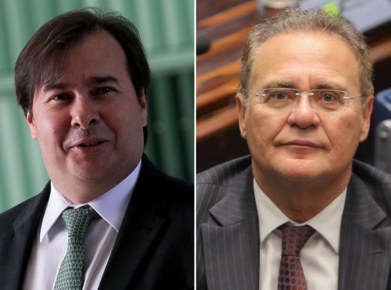 Foto: Rodrigo Maia e Renan Calheiros: os 2 são favoritos para presidir Câmara e Senado até 2021 (Poder360)