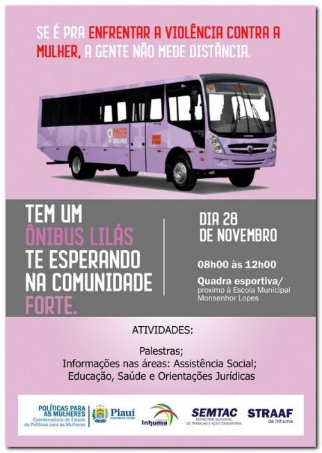 Inhuma receberá ação do Ônibus Lilás, prevenção à violência contra mulher