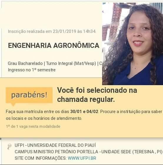 Jovem de Valença do Piauí é aprovada em Engenharia Agronômica Na UFPI