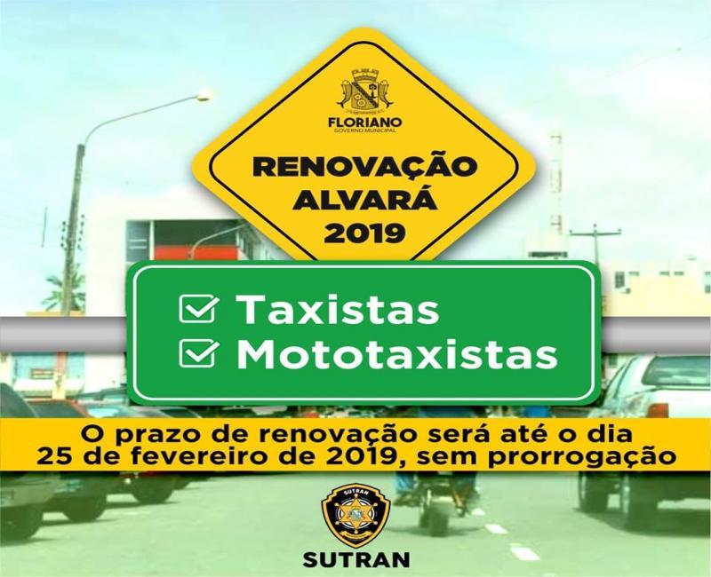 SUTRAN anuncia prazo para renovação do alvará de motoristas e mototaxistas