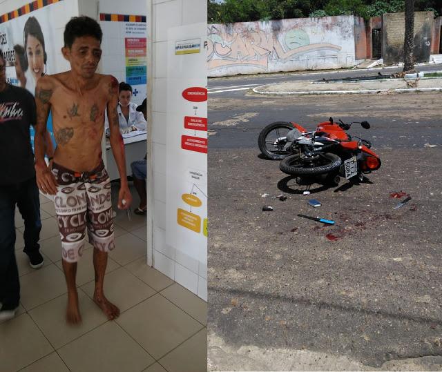 Assaltante é preso após cair da moto durante perseguição policial