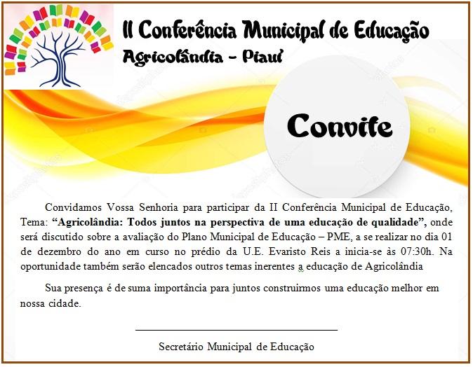 Em Agricolândia acontecerá a II Conferência Municipal de Educação