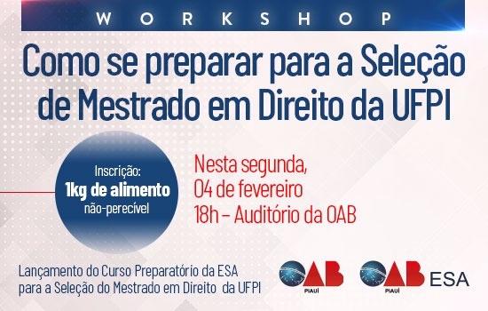 Workshop norteará interessados a ingressarem no Mestrado de Direito da UFPI