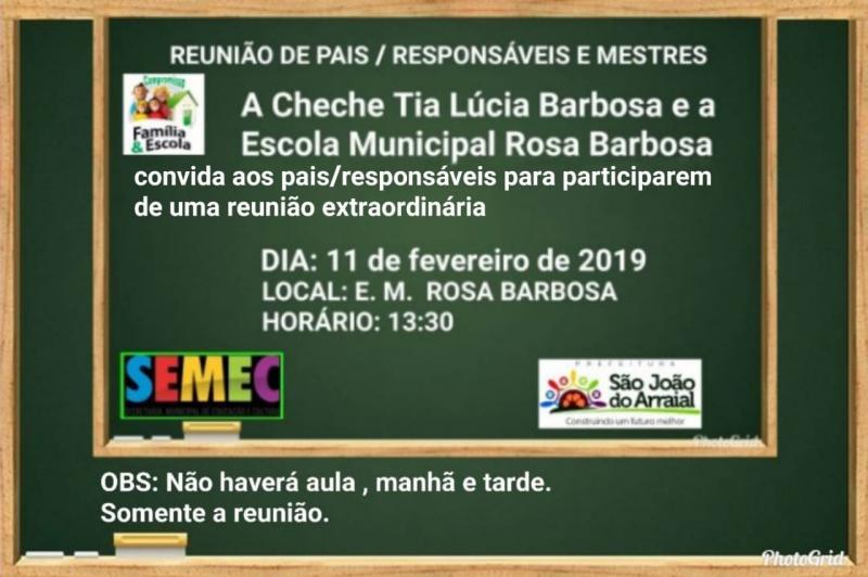 Escola Rosa Barbosa convida pais de alunos para reunião segunda-feira (11)
