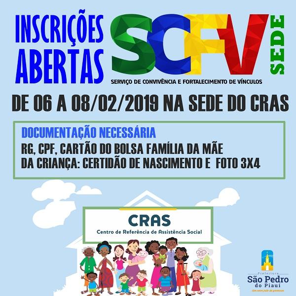 São Pedro do Piauí | CRAS abre inscrições para os Serviços de Convivência