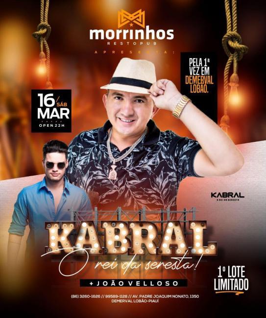 Kabral, o rei da seresta em grande show em Demerval Lobão
