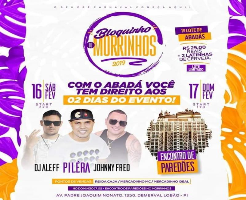 Bloquinho morrinhos estreia no carnaval 2019 em Demerval Lobão