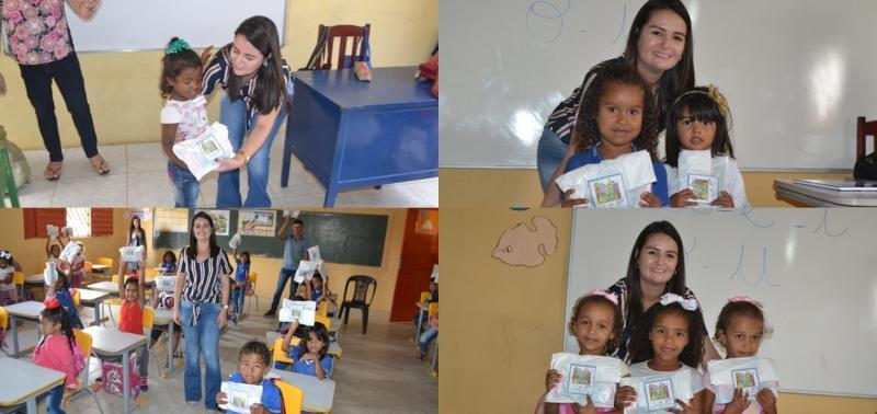 Secretária de Educação acompanha início das aulas e entrega kit escolar