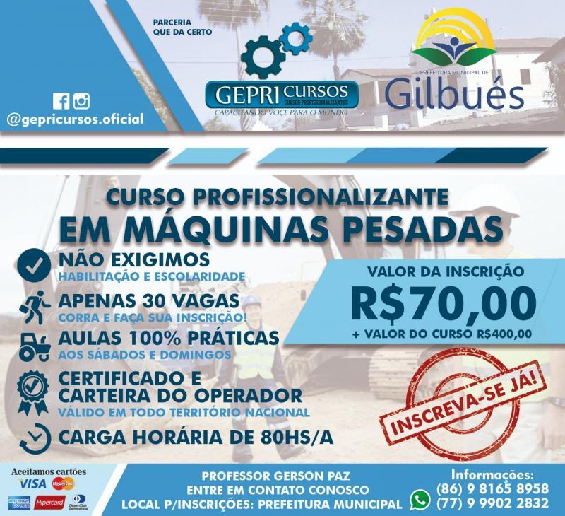 Inscrições abertas para curso em máquinas pesadas em Gilbués-Pi