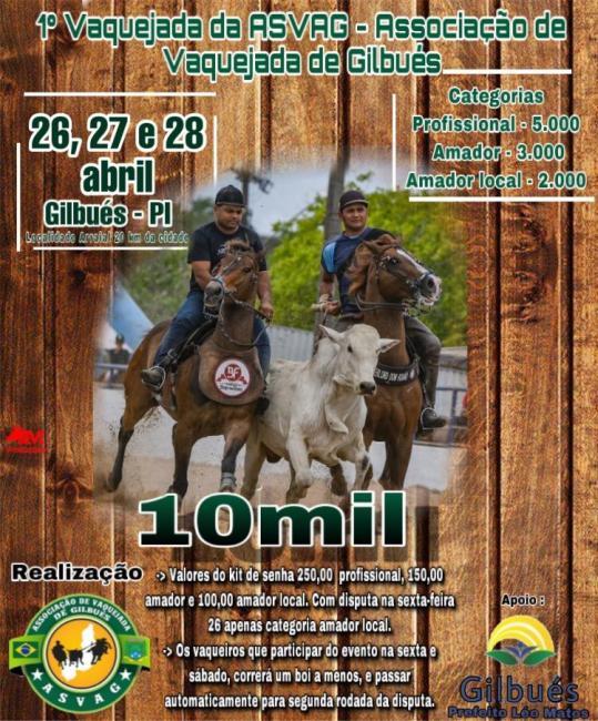 1° Vaquejada da ASVAG, Associação de Vaqueiros de Gilbués
