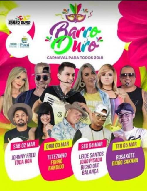 Barro Duro divulga atrações do carnaval 2019