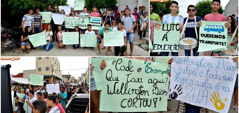 Pais e alunos protestam por falta de transporte escolar