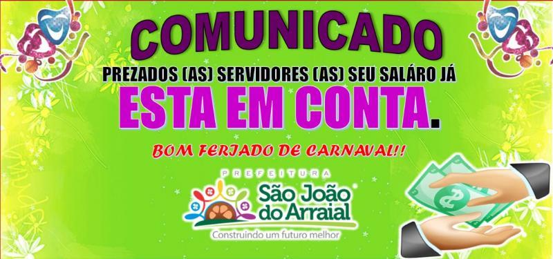 Prefeitura de São João do Arraial paga servidores antes do carnaval