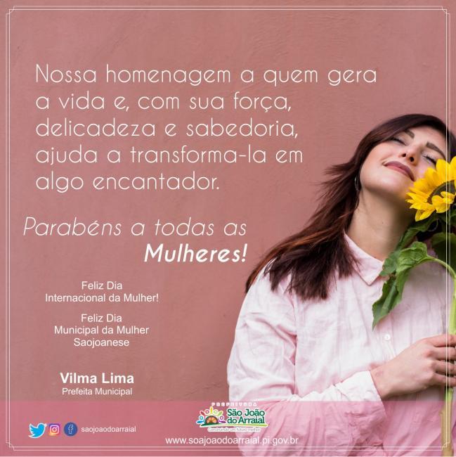 Homenagem da prefeita Vilma Lima para todas as mulheres