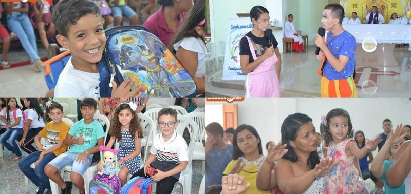 Paróquia realiza missa com benção das mochilas para crianças