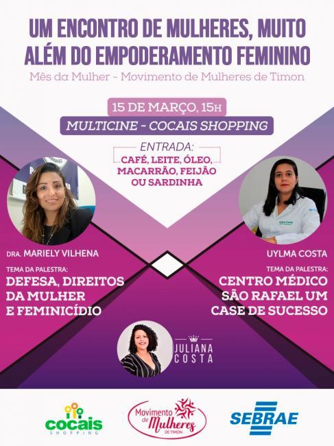 Movimento de Mulheres de Timon realizará palestas no Shopping Cocais