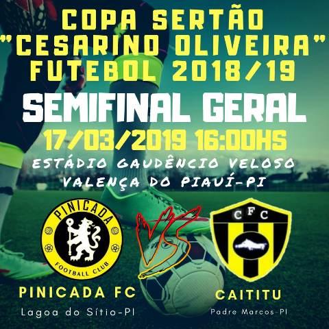 Pinicada Futebol Clube e Caititu Futebol Clube se enfrentarão em Valença