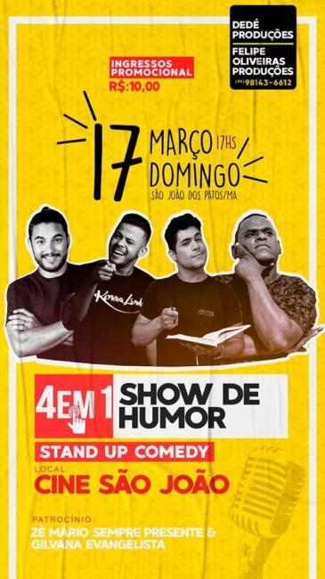 Amanhã tem show de humor em São João dos Patos-Ma