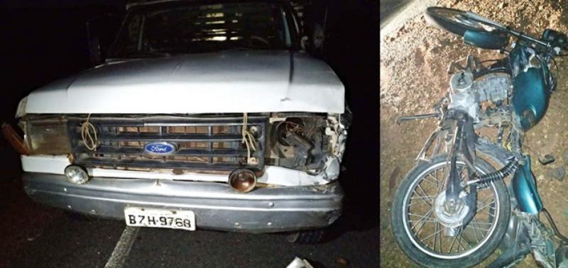 Colisão entre moto e caminhão deixa um homem morto no interior do Piauí