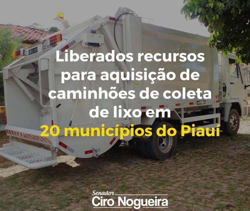 Ciro Nogueira consegue recurso para aquisição de caminhão de coleta de lixo para Gilbués