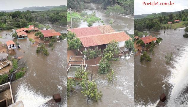 Água ultrapassa parede de contenção em Barragem no PI