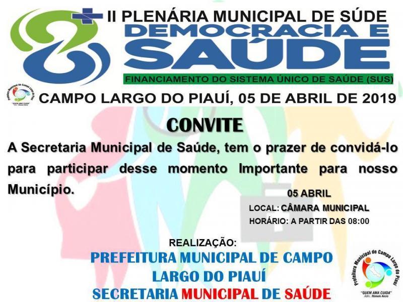 Acontecerá Plenária Municipal de Saúde nesta sexta (5), em Campo Largo
