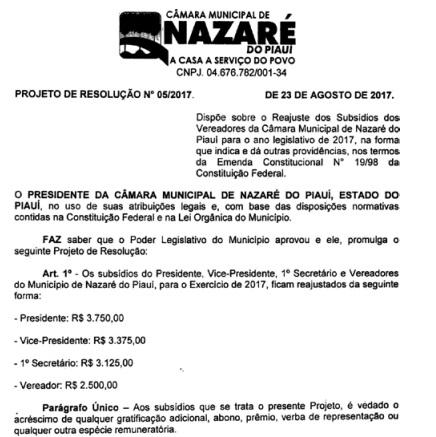 Câmara municipal de Nazaré do Piauí reajusta salário de vereadores