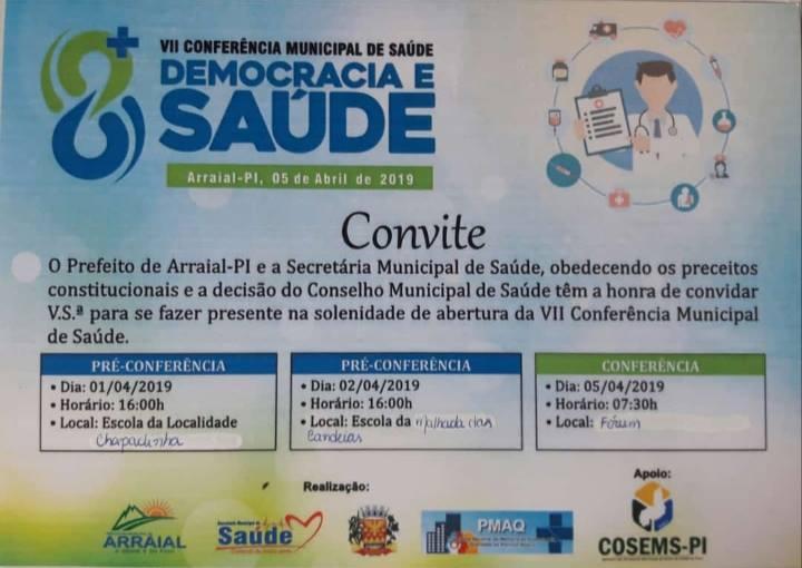 Prefeitura convida todos para abertura da VII Conferência de Saúde