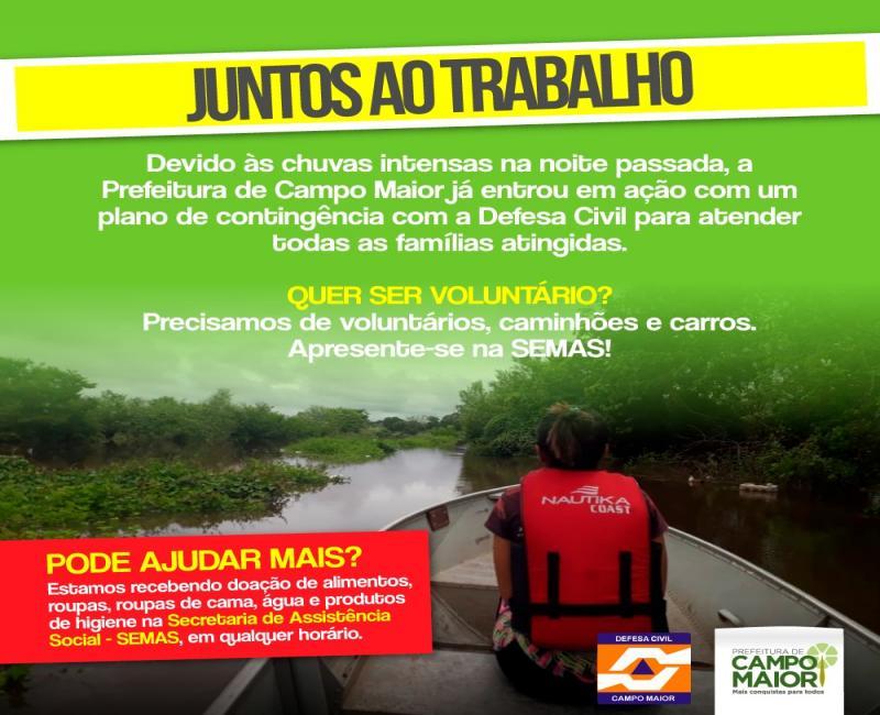 Prefeitura de Campo Maior faz campanha para arrecadar donativos