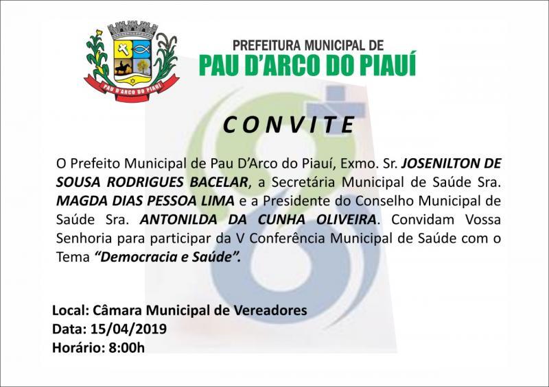 V Conferência Municipal de Saúde de Pau D'arco do PI será dia 15/4