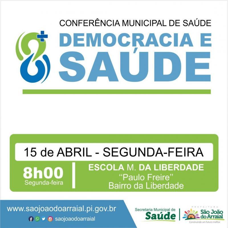 Participe da Conferência Municipal da saúde em São João do Arraial