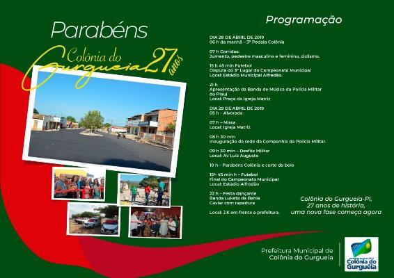 Programação do aniversário de Colônia do Gurgueia-PI