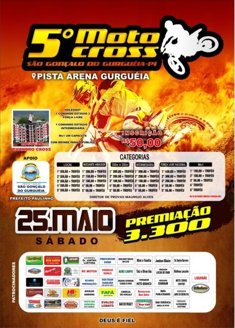 Confira os patrocinadores do 5 motocross da pista arena Gurguéia