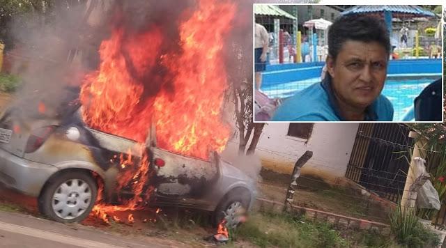 Homem ateia fogo no carro e entra no veículo após suposta traição