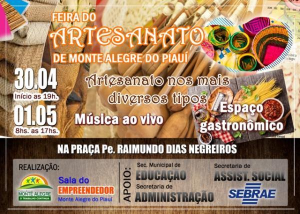Feira do Artesanato será realizada em Monte Alegre nos dias 30/04 e 01/05