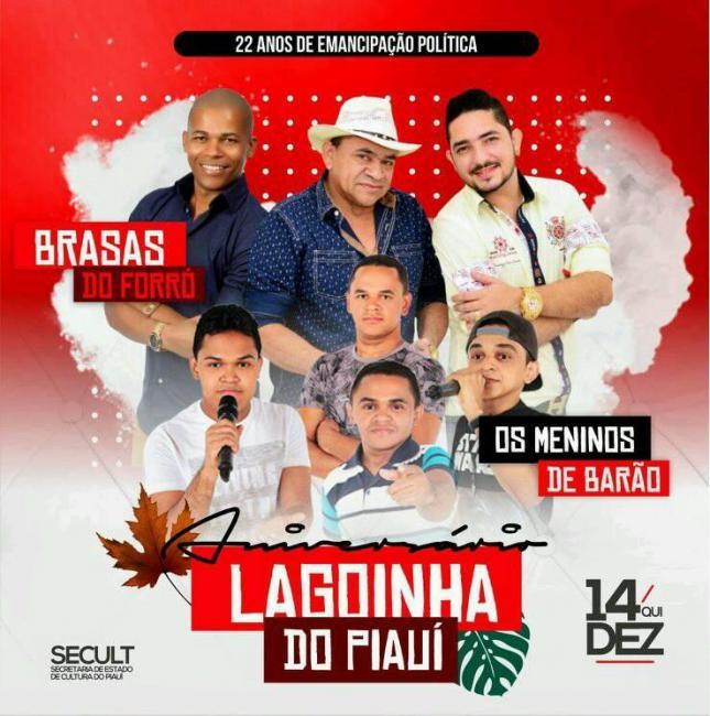Confirmada atraçoes para as comemorações aos 22 anos de Lagoinha do Piauí