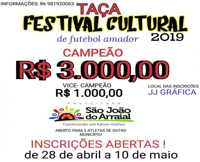 Abertas as inscrições para participar da Copa Taça Festival Cultural 2019