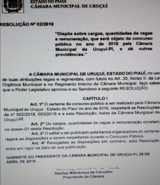 Câmara de Vereadores de Uruçuí abre 2 vagas para assessor jurídico
