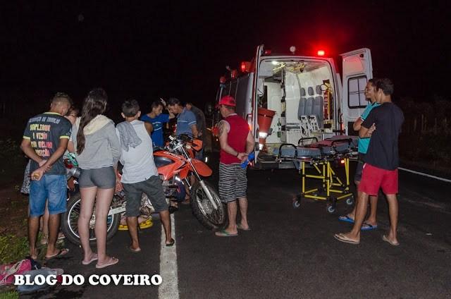 Motociclista fica gravemente ferido após colidir contra animais em Cocal