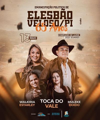 Prefeitura de Elesbão Veloso divulga programação dos 65 anos