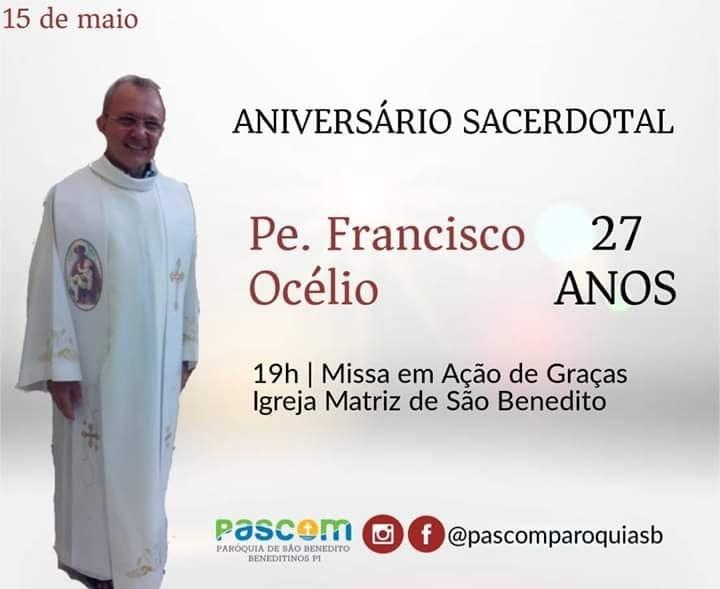 Pároco de Beneditinos completa 27 anos de Sacerdócio
