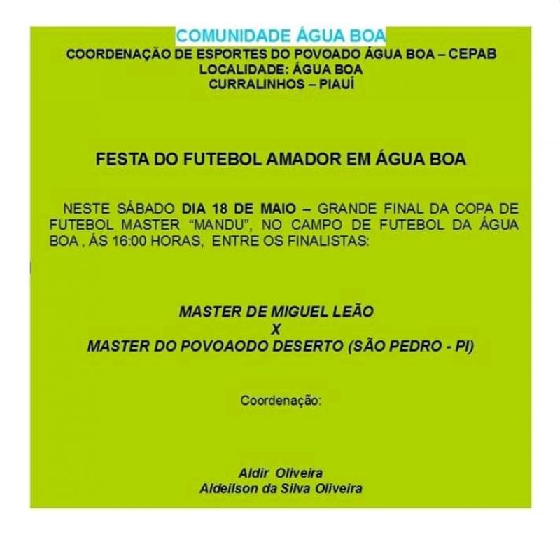 Festa do Futebol Amador será realizada neste sábado em Água Boa