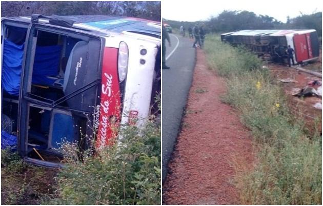 Ônibus de viagem tomba e deixa passageiros feridos na PI-140