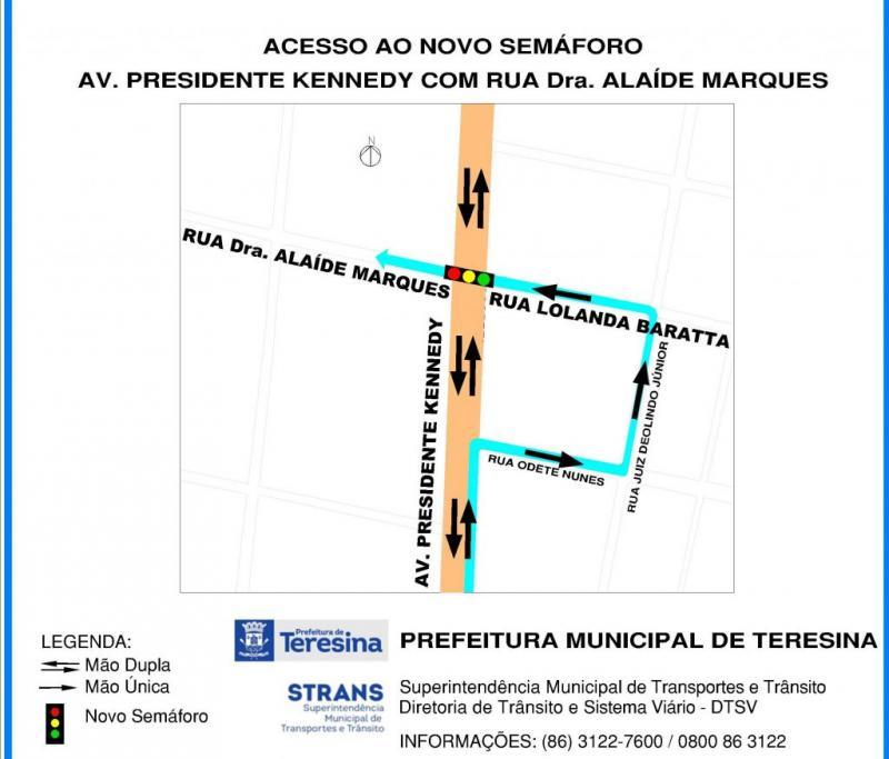 Novo semáforo será instalado na avenida Kennedy em Teresina