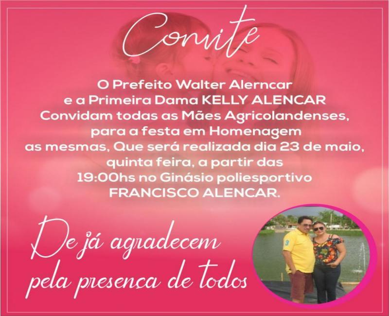 Festa em Homenagem as Mães nesta quinta-feira em Agricolândia