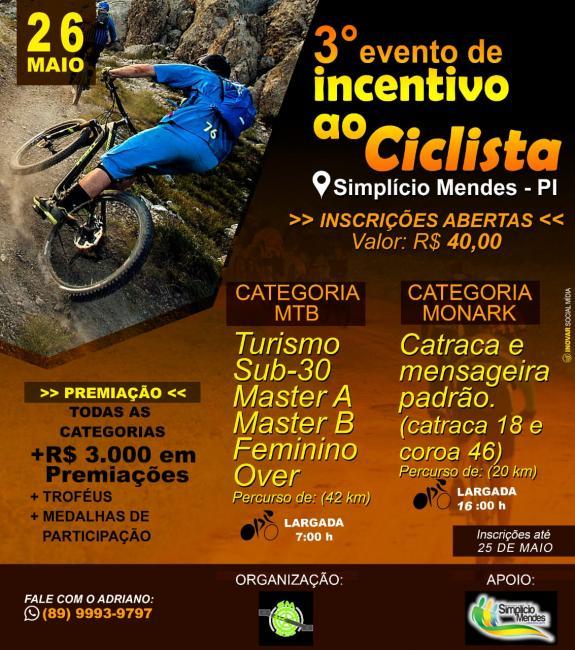 Vai começar o 3º Evento de Incentivo ao Ciclista de S. Mendes
