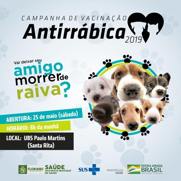 Campanha de Vacinação Antirrábica será realizada neste sábado (25)