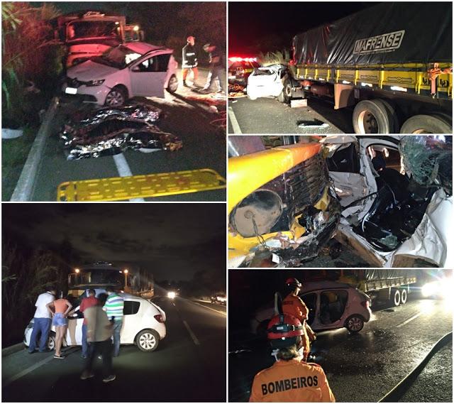 Três morrem em colisão entre carro e caminhão na BR-316